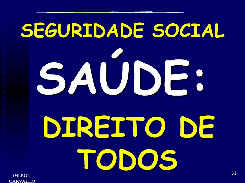 GILSON CARVALHO 31 SEGURIDADE SOCIAL SAÚDE: DIREITO DE TODOS DIREITO DE TODOS