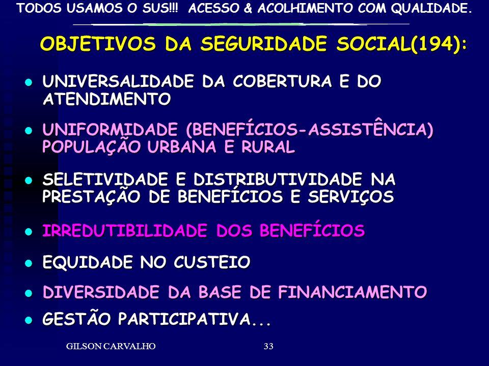 TODOS USAMOS O SUS!!! ACESSO & ACOLHIMENTO COM QUALIDADE. GILSON CARVALHO33 OBJETIVOS DA SEGURIDADE SOCIAL(194): UNIVERSALIDADE DA COBERTURA E DO ATEN