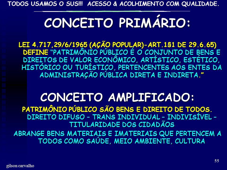 TODOS USAMOS O SUS!!! ACESSO & ACOLHIMENTO COM QUALIDADE. gilson carvalho 55 CONCEITO PRIMÁRIO: LEI 4.717,29/6/1965 (AÇÃO POPULAR)-ART.1§1 DE 29.6.65)