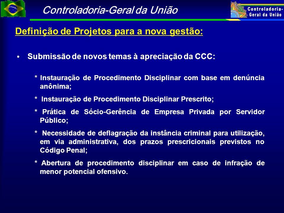 Controladoria-Geral da União Definição de Projetos para a nova gestão: Submissão de novos temas à apreciação da CCC: * Instauração de Procedimento Dis