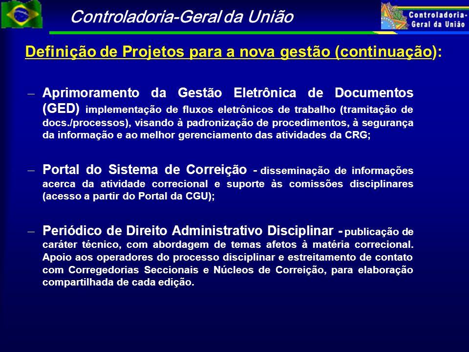 Controladoria-Geral da União Definição de Projetos para a nova gestão (continuação): – Aprimoramento da Gestão Eletrônica de Documentos (GED) implemen