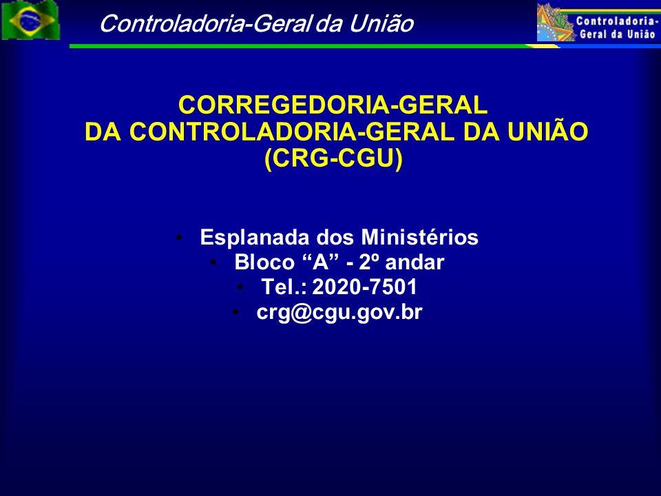 Controladoria-Geral da União CORREGEDORIA-GERAL DA CONTROLADORIA-GERAL DA UNIÃO (CRG-CGU) Esplanada dos Ministérios Bloco A - 2º andar Tel.: 2020-7501