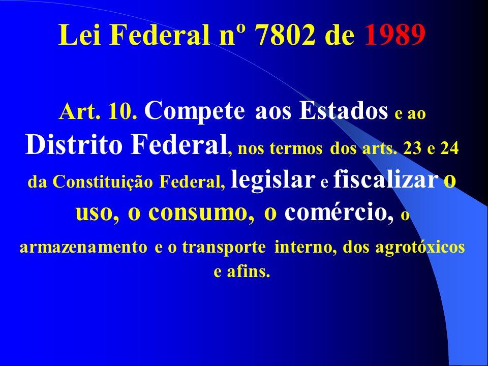 Lei Federal nº 7802 de 1989 Art. 10. Compete aos Estados e ao Distrito Federal, nos termos dos arts. 23 e 24 da Constituição Federal, legislar e fisca