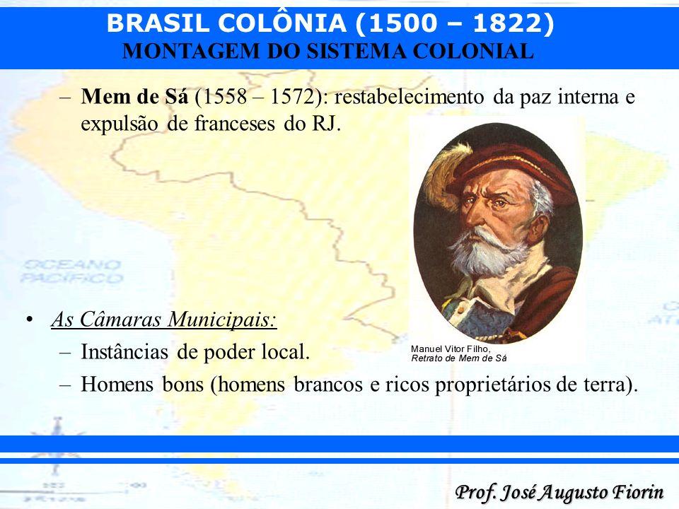 BRASIL COLÔNIA (1500 – 1822) Prof. José Augusto Fiorin MONTAGEM DO SISTEMA COLONIAL –Mem de Sá (1558 – 1572): restabelecimento da paz interna e expuls