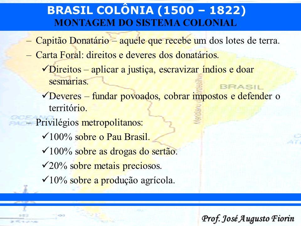 BRASIL COLÔNIA (1500 – 1822) Prof. José Augusto Fiorin MONTAGEM DO SISTEMA COLONIAL –Capitão Donatário – aquele que recebe um dos lotes de terra. –Car