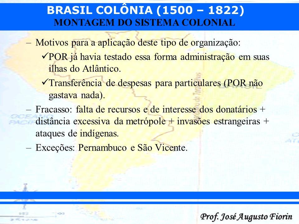 BRASIL COLÔNIA (1500 – 1822) Prof. José Augusto Fiorin MONTAGEM DO SISTEMA COLONIAL –Motivos para a aplicação deste tipo de organização: POR já havia