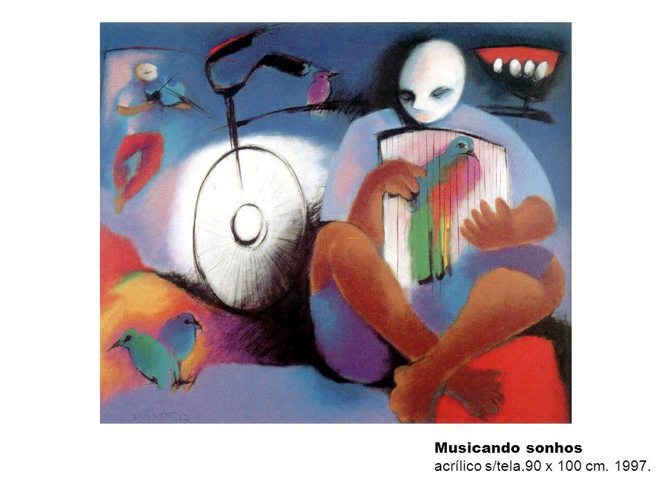 Musicando sonhos acrílico s/tela.90 x 100 cm. 1997.