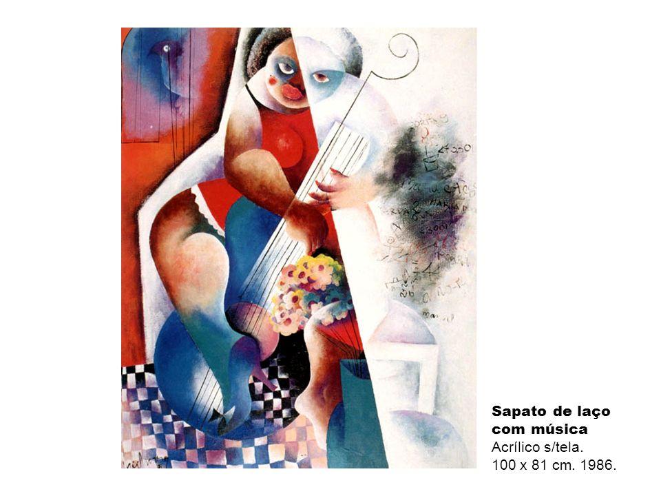 Sapato de laço com música Acrílico s/tela. 100 x 81 cm. 1986.