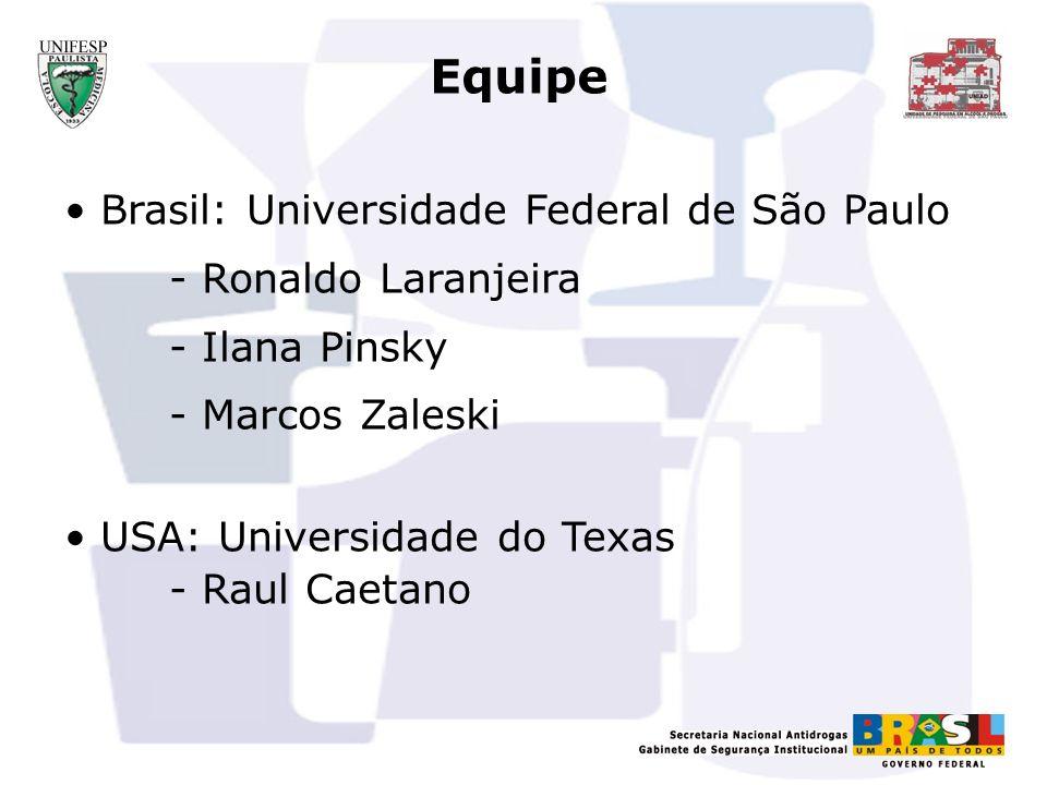 Equipe Brasil: Universidade Federal de São Paulo - Ronaldo Laranjeira - Ilana Pinsky - Marcos Zaleski USA: Universidade do Texas - Raul Caetano