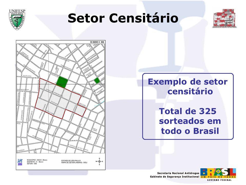Setor Censitário Exemplo de setor censitário Total de 325 sorteados em todo o Brasil
