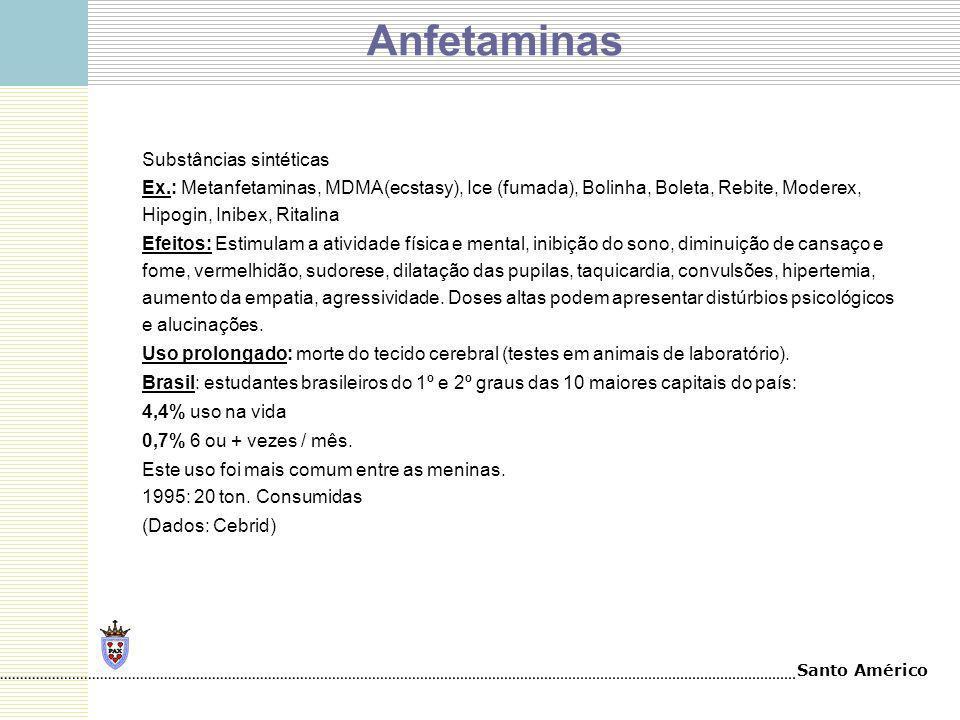 Santo Américo Anfetaminas Substâncias sintéticas Ex.: Metanfetaminas, MDMA(ecstasy), Ice (fumada), Bolinha, Boleta, Rebite, Moderex, Hipogin, Inibex,