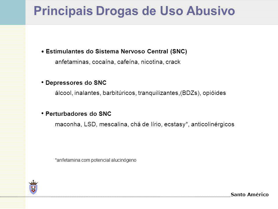 Santo Américo Principais Drogas de Uso Abusivo Estimulantes do Sistema Nervoso Central (SNC) anfetaminas, cocaína, cafeína, nicotina, crack Depressore