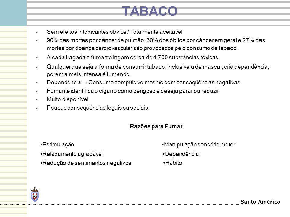 Santo Américo TABACO Sem efeitos intoxicantes óbvios / Totalmente aceitável 90% das mortes por câncer de pulmão, 30% dos óbitos por câncer em geral e