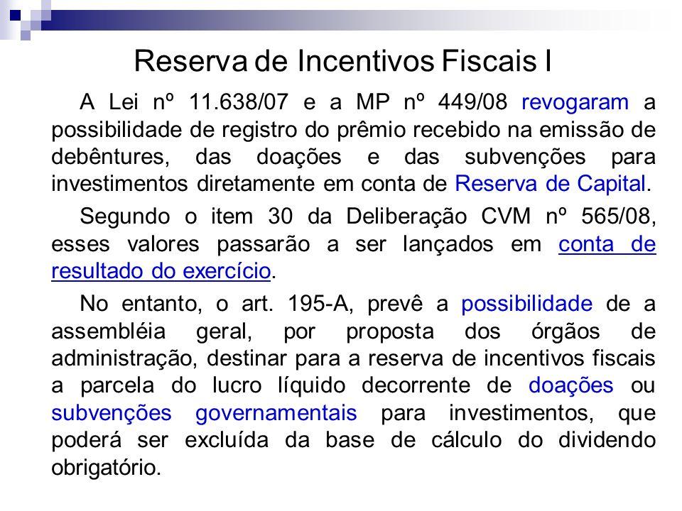 Reserva de Incentivos Fiscais I A Lei nº 11.638/07 e a MP nº 449/08 revogaram a possibilidade de registro do prêmio recebido na emissão de debêntures,