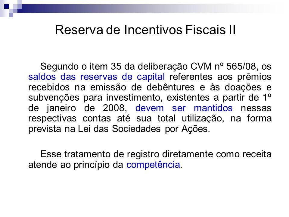 Reserva de Incentivos Fiscais II Segundo o item 35 da deliberação CVM nº 565/08, os saldos das reservas de capital referentes aos prêmios recebidos na