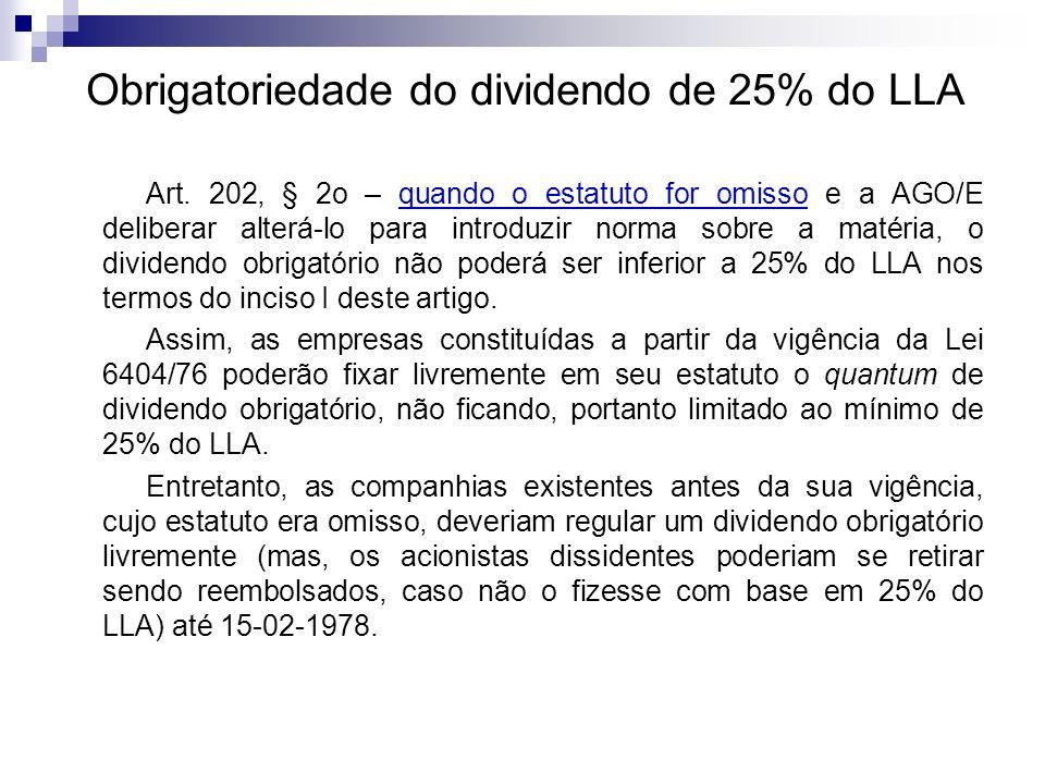 Obrigatoriedade do dividendo de 25% do LLA Art. 202, § 2o – quando o estatuto for omisso e a AGO/E deliberar alterá-lo para introduzir norma sobre a m