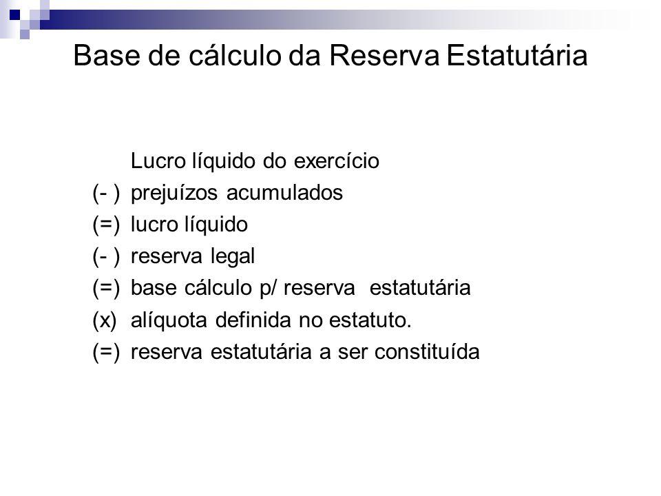 Base de cálculo da Reserva Estatutária Lucro líquido do exercício (- )prejuízos acumulados (=)lucro líquido (- )reserva legal (=)base cálculo p/ reser