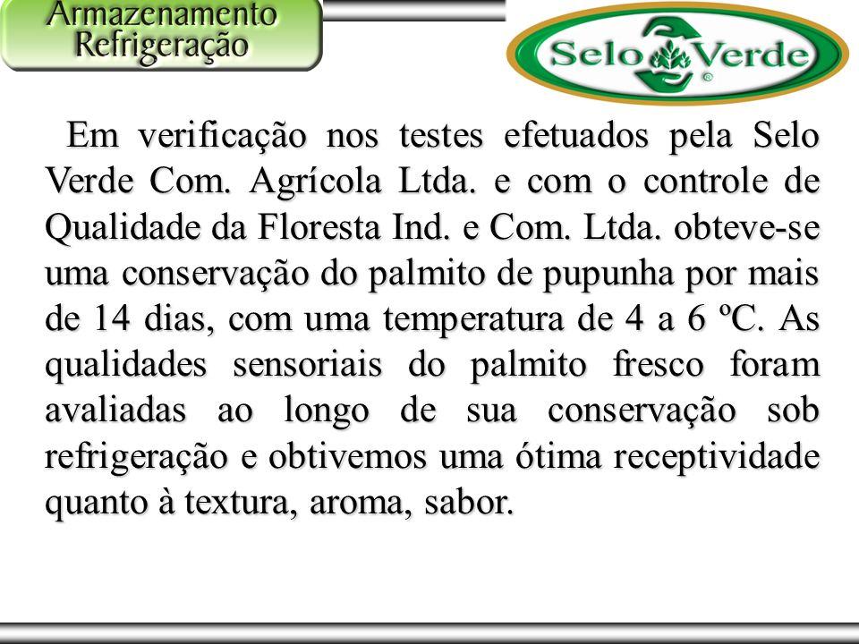 Fluxograma do Processo Em verificação nos testes efetuados pela Selo Verde Com. Agrícola Ltda. e com o controle de Qualidade da Floresta Ind. e Com. L