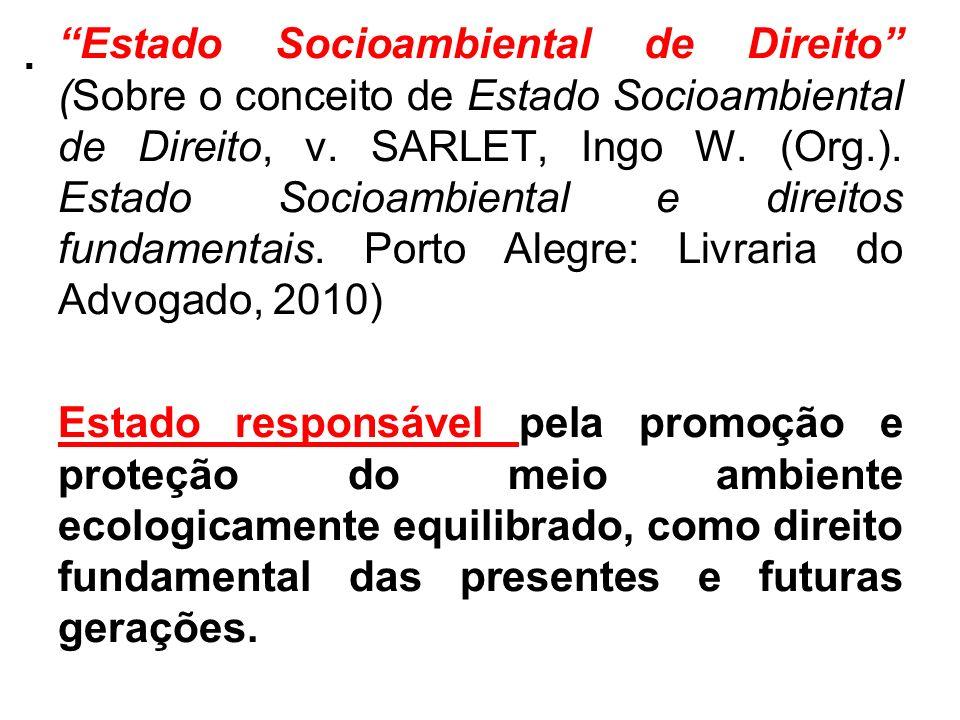 . Estado Socioambiental de Direito (Sobre o conceito de Estado Socioambiental de Direito, v. SARLET, Ingo W. (Org.). Estado Socioambiental e direitos