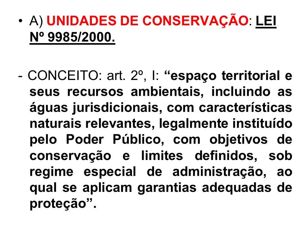 . A) UNIDADES DE CONSERVAÇÃO: LEI Nº 9985/2000. - CONCEITO: art. 2º, I: espaço territorial e seus recursos ambientais, incluindo as águas jurisdiciona