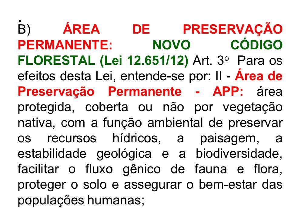 . B) ÁREA DE PRESERVAÇÃO PERMANENTE: NOVO CÓDIGO FLORESTAL (Lei 12.651/12) Art. 3 o Para os efeitos desta Lei, entende-se por: II - Área de Preservaçã