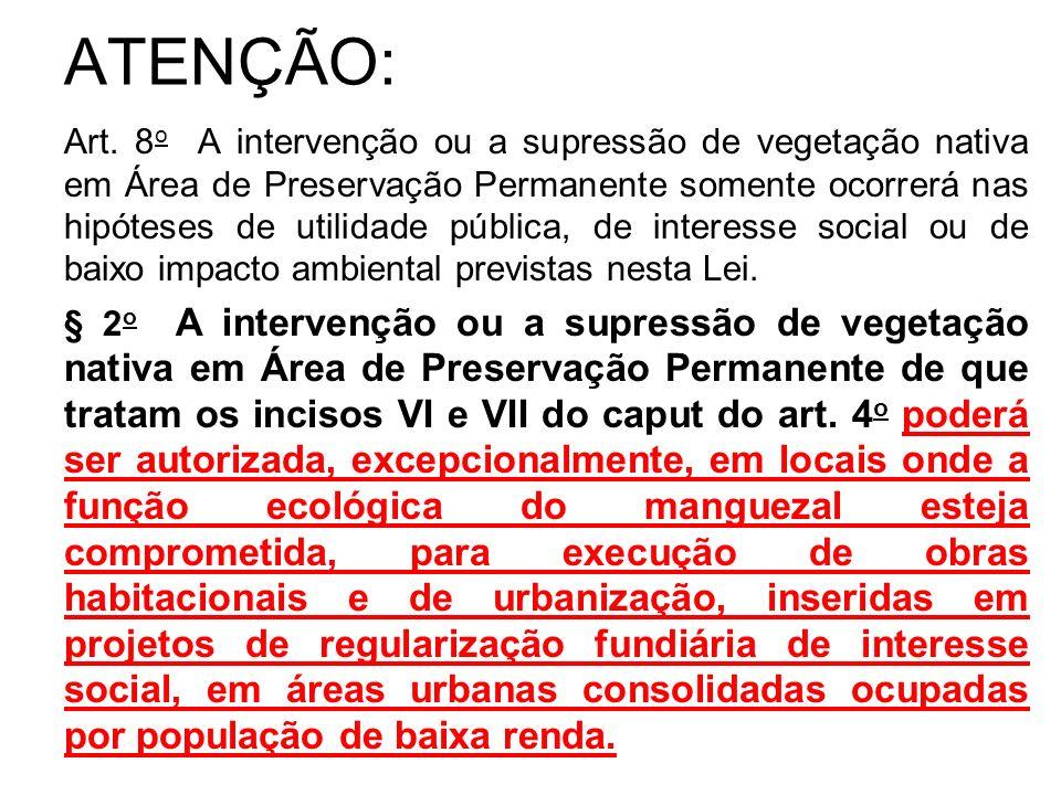 ATENÇÃO: Art. 8 o A intervenção ou a supressão de vegetação nativa em Área de Preservação Permanente somente ocorrerá nas hipóteses de utilidade públi