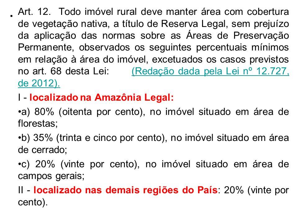 . Art. 12. Todo imóvel rural deve manter área com cobertura de vegetação nativa, a título de Reserva Legal, sem prejuízo da aplicação das normas sobre
