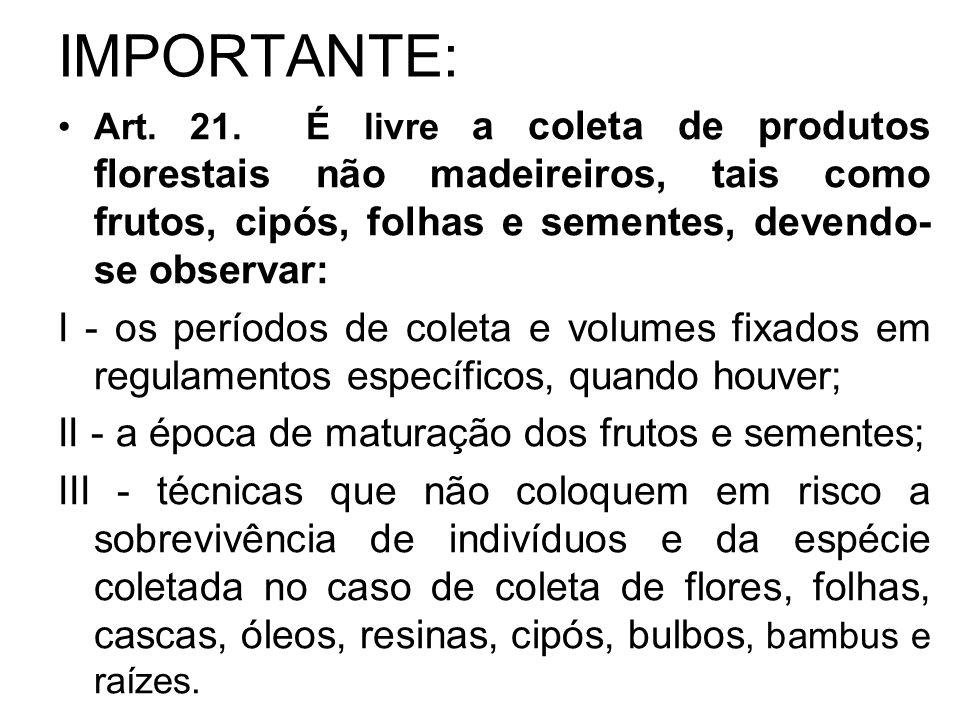 IMPORTANTE: Art. 21. É livre a coleta de produtos florestais não madeireiros, tais como frutos, cipós, folhas e sementes, devendo- se observar: I - os