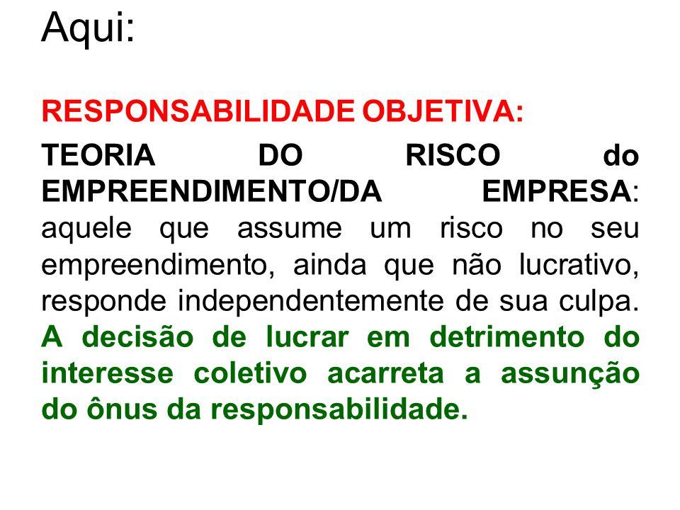 Aqui: RESPONSABILIDADE OBJETIVA: TEORIA DO RISCO do EMPREENDIMENTO/DA EMPRESA: aquele que assume um risco no seu empreendimento, ainda que não lucrati