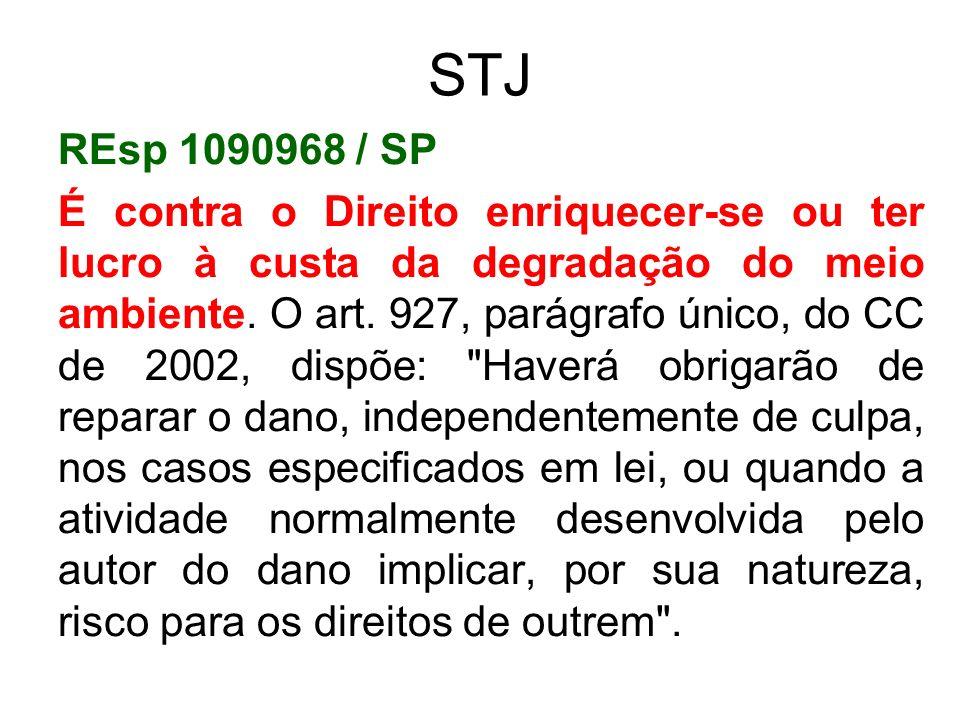 STJ REsp 1090968 / SP É contra o Direito enriquecer-se ou ter lucro à custa da degradação do meio ambiente. O art. 927, parágrafo único, do CC de 2002