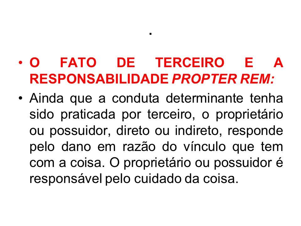 . O FATO DE TERCEIRO E A RESPONSABILIDADE PROPTER REM: Ainda que a conduta determinante tenha sido praticada por terceiro, o proprietário ou possuidor