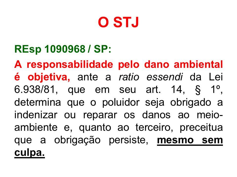 O STJ REsp 1090968 / SP: A responsabilidade pelo dano ambiental é objetiva, ante a ratio essendi da Lei 6.938/81, que em seu art. 14, § 1º, determina