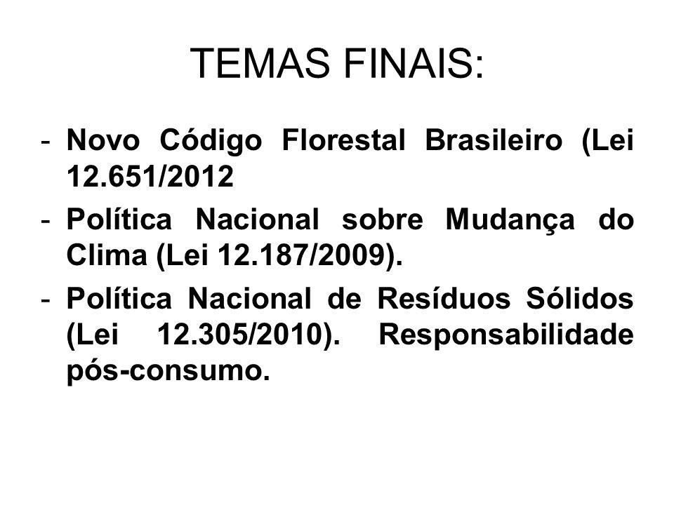 TEMAS FINAIS: -Novo Código Florestal Brasileiro (Lei 12.651/2012 -Política Nacional sobre Mudança do Clima (Lei 12.187/2009). -Política Nacional de Re
