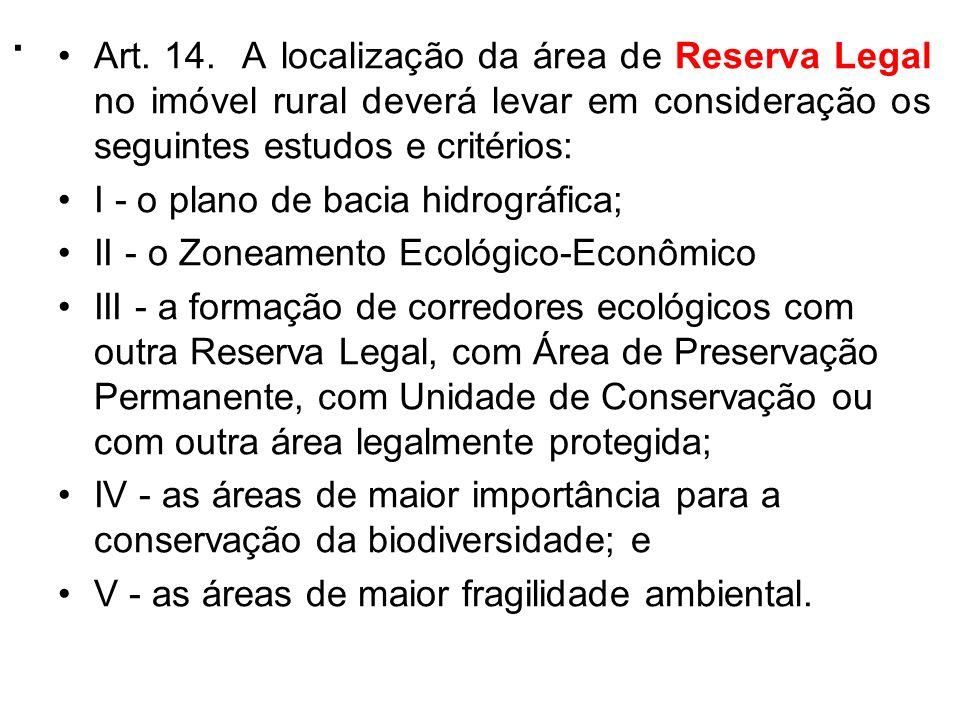 . Art. 14. A localização da área de Reserva Legal no imóvel rural deverá levar em consideração os seguintes estudos e critérios: I - o plano de bacia