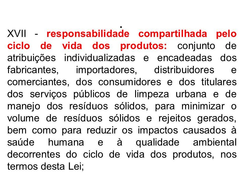 . XVII - responsabilidade compartilhada pelo ciclo de vida dos produtos: conjunto de atribuições individualizadas e encadeadas dos fabricantes, import