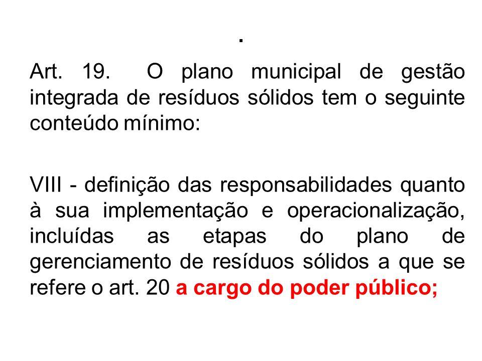 . Art. 19. O plano municipal de gestão integrada de resíduos sólidos tem o seguinte conteúdo mínimo: VIII - definição das responsabilidades quanto à s