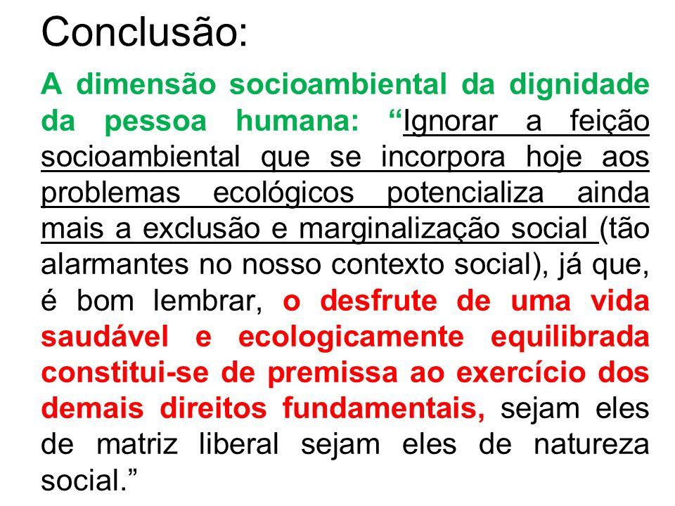 Conclusão: A dimensão socioambiental da dignidade da pessoa humana: Ignorar a feição socioambiental que se incorpora hoje aos problemas ecológicos pot