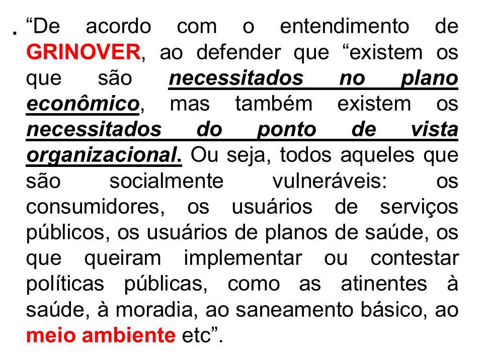 . De acordo com o entendimento de GRINOVER, ao defender que existem os que são necessitados no plano econômico, mas também existem os necessitados do