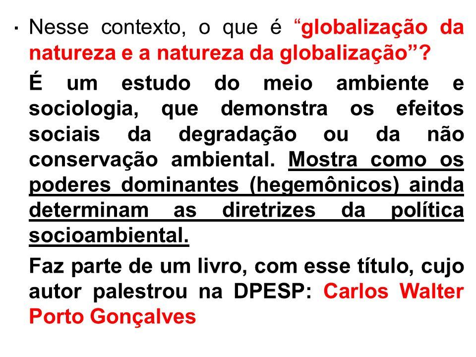 . Nesse contexto, o que é globalização da natureza e a natureza da globalização? É um estudo do meio ambiente e sociologia, que demonstra os efeitos s