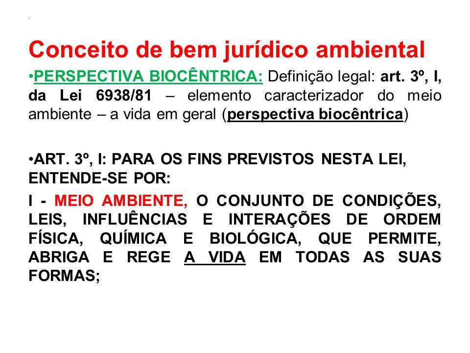 . Conceito de bem jurídico ambiental PERSPECTIVA BIOCÊNTRICA: Definição legal: art. 3º, I, da Lei 6938/81 – elemento caracterizador do meio ambiente –