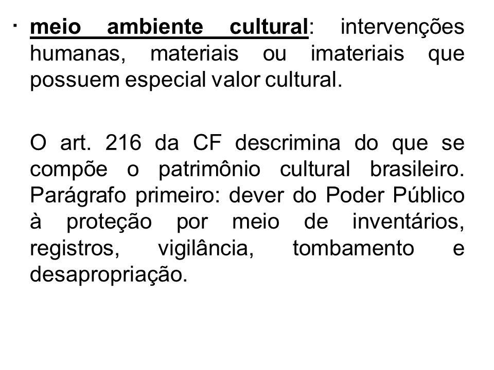 . meio ambiente cultural: intervenções humanas, materiais ou imateriais que possuem especial valor cultural. O art. 216 da CF descrimina do que se com