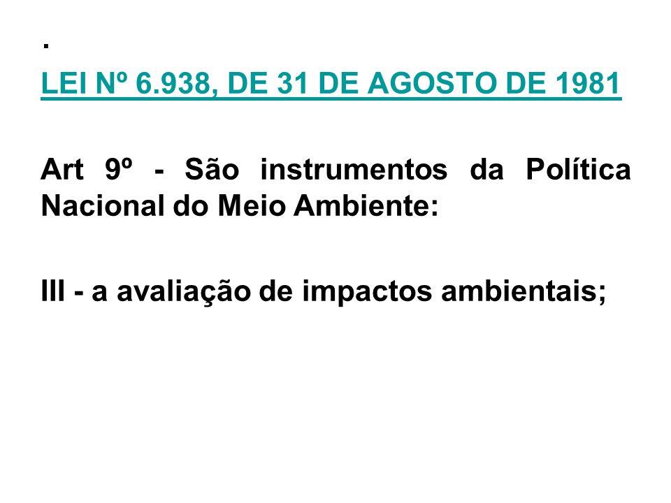 . LEI Nº 6.938, DE 31 DE AGOSTO DE 1981 Art 9º - São instrumentos da Política Nacional do Meio Ambiente: III - a avaliação de impactos ambientais;