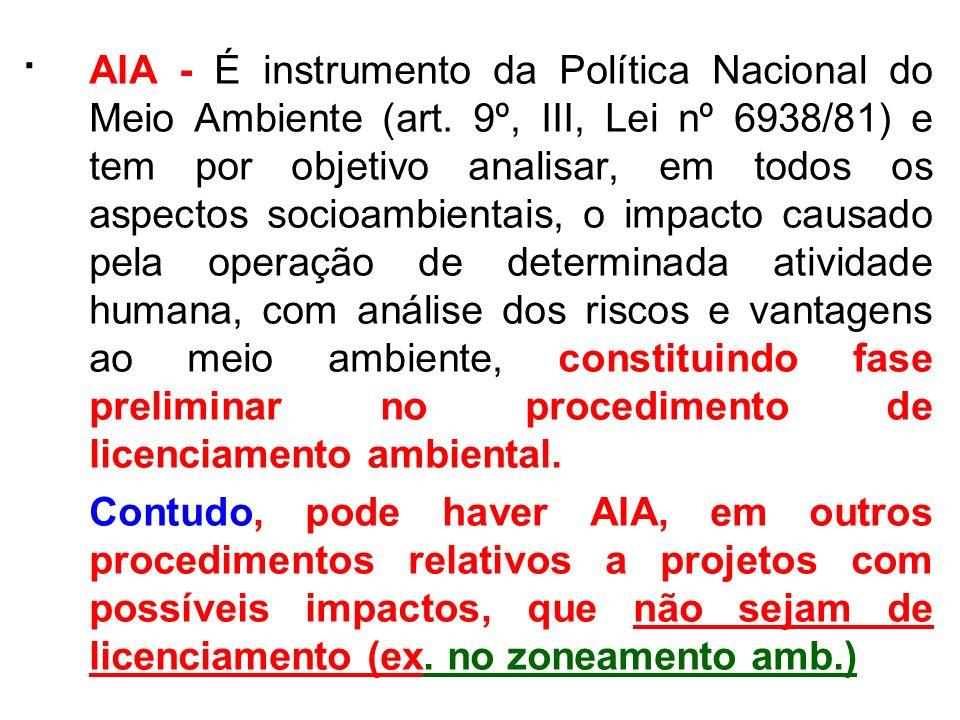 . AIA - É instrumento da Política Nacional do Meio Ambiente (art. 9º, III, Lei nº 6938/81) e tem por objetivo analisar, em todos os aspectos socioambi