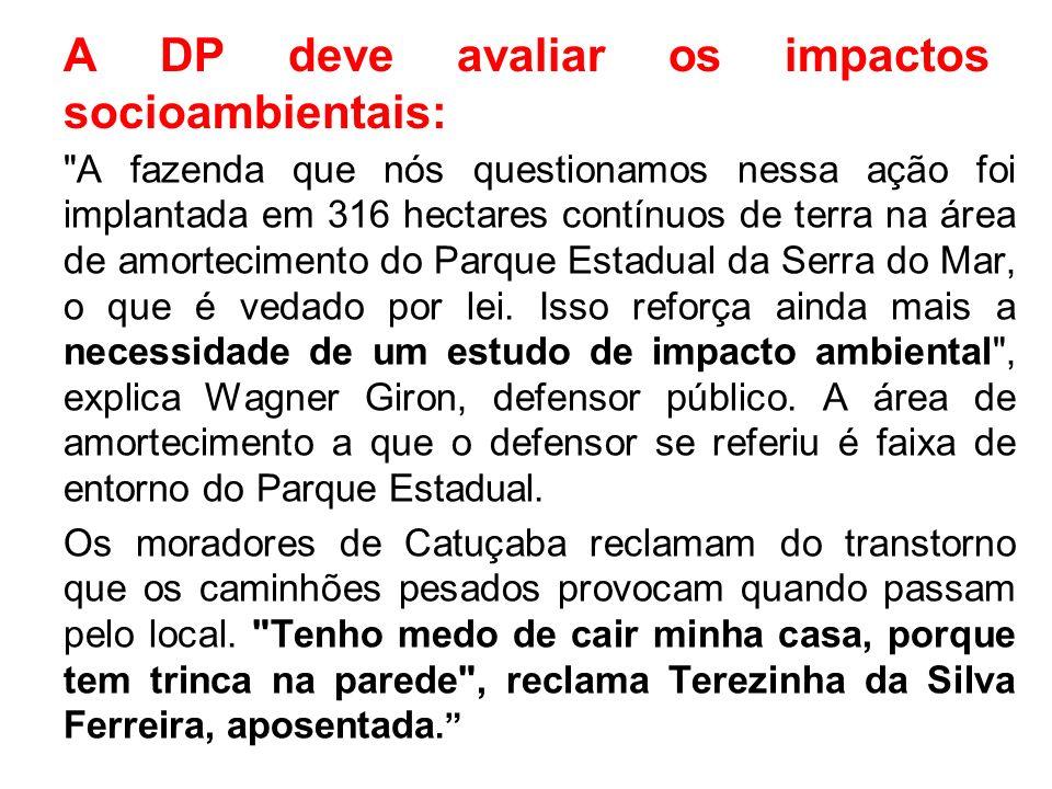 A DP deve avaliar os impactos socioambientais:
