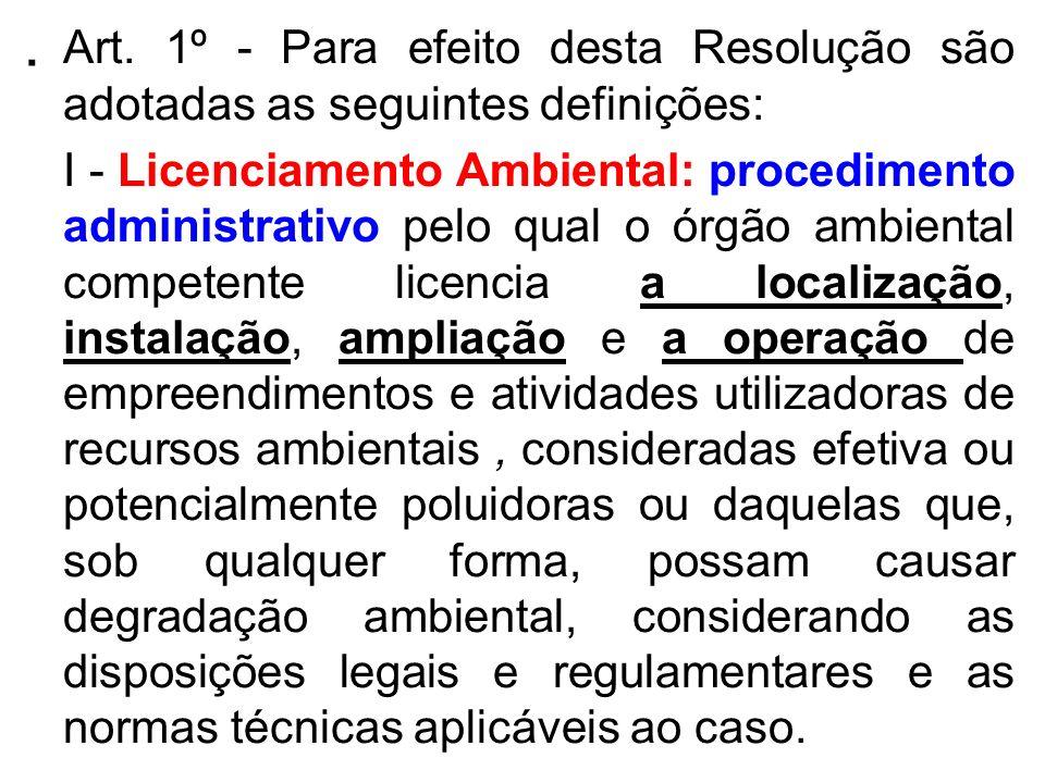 . Art. 1º - Para efeito desta Resolução são adotadas as seguintes definições: I - Licenciamento Ambiental: procedimento administrativo pelo qual o órg
