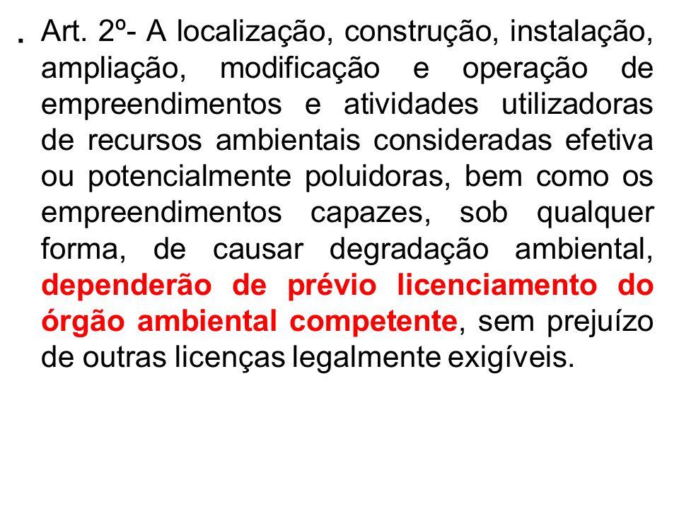 . Art. 2º- A localização, construção, instalação, ampliação, modificação e operação de empreendimentos e atividades utilizadoras de recursos ambientai