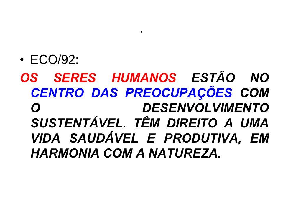 . ECO/92: OS SERES HUMANOS ESTÃO NO CENTRO DAS PREOCUPAÇÕES COM O DESENVOLVIMENTO SUSTENTÁVEL. TÊM DIREITO A UMA VIDA SAUDÁVEL E PRODUTIVA, EM HARMONI