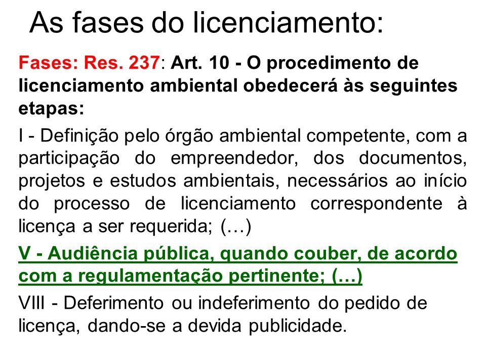 As fases do licenciamento: Fases: Res. 237: Art. 10 - O procedimento de licenciamento ambiental obedecerá às seguintes etapas: I - Definição pelo órgã