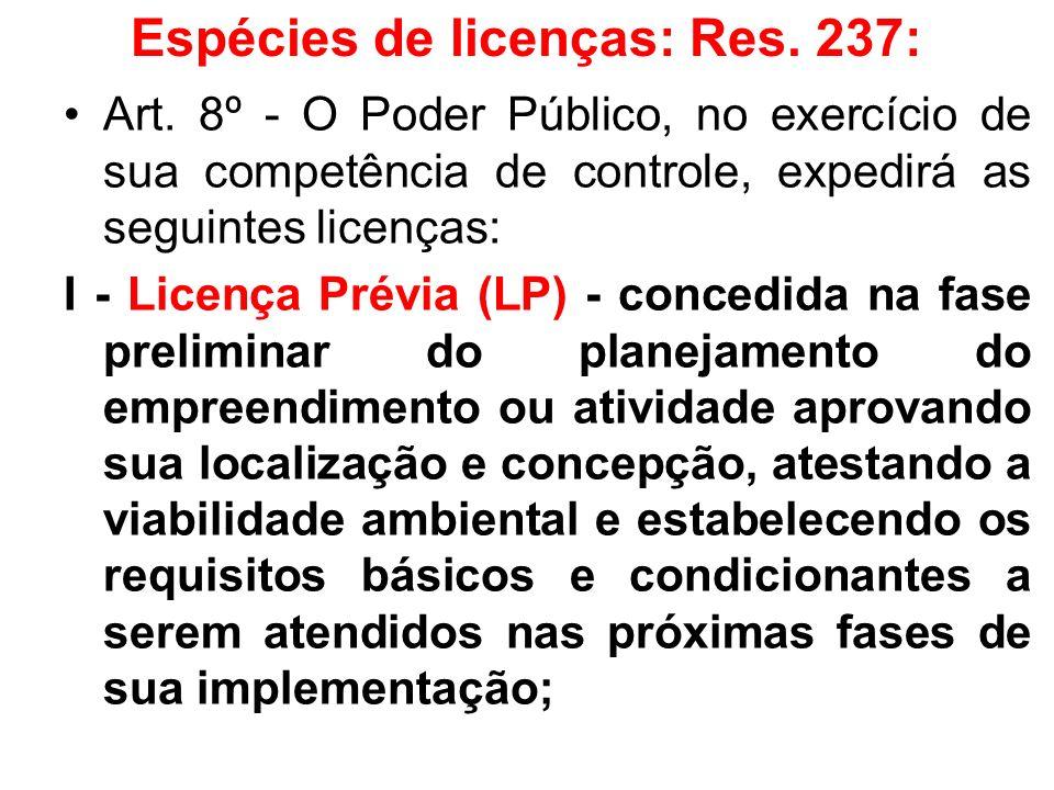 Espécies de licenças: Res. 237: Art. 8º - O Poder Público, no exercício de sua competência de controle, expedirá as seguintes licenças: I - Licença Pr