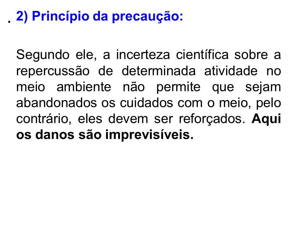 . 2) Princípio da precaução: Segundo ele, a incerteza científica sobre a repercussão de determinada atividade no meio ambiente não permite que sejam a